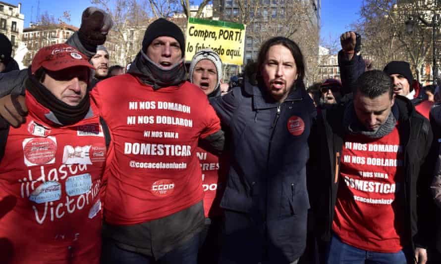 A Podemos protest against Coca-Cola