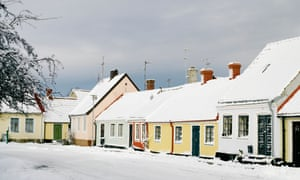 Snowy Simrishamn town scene, in winter, Sweden.