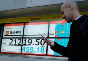 A stock indicator board showing share prices of the Tokyo Stock Exchange today