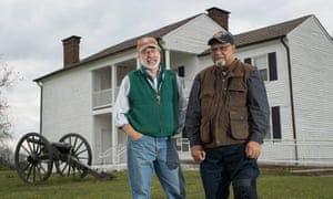 Dr Stephen McBride (left), a historical archeologist, and Jim Hunn, a descendant of members of the US Colored Infantry, pictured at Camp Nelson, a new national monument.