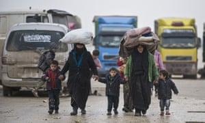 Syrians at the Bab al-Salameh border crossing with Turkey on Saturday.