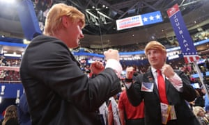 A Massachusetts delegate dressed as Trump in front of a mirrored wall at the 2016 Republican national convention in Cleveland, Ohio.