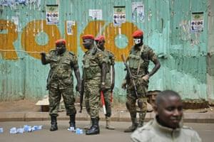 Military police on patrol in Uganda