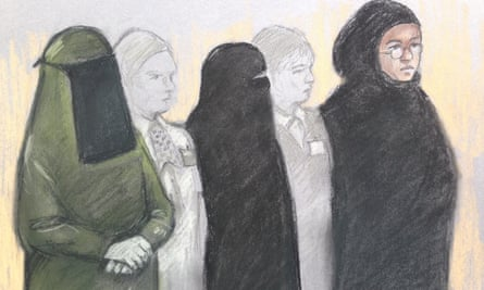 Court artist sketch of (from left) Mina Dich, Rizlaine Boular and Khawla Barghouthi