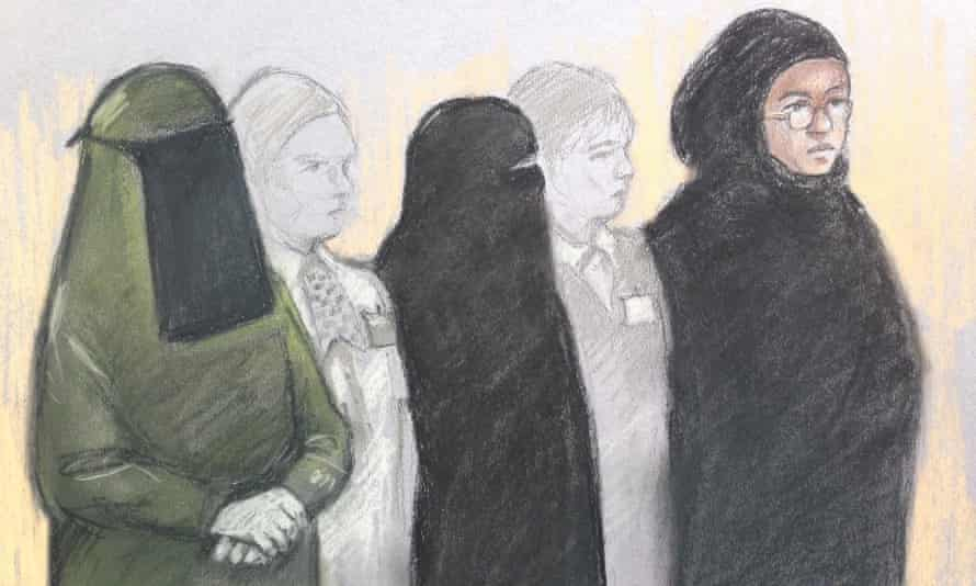 A court artist's sketch of (L-R) Mina Dich, Rizlaine Boular and Khawla Barghouthi.