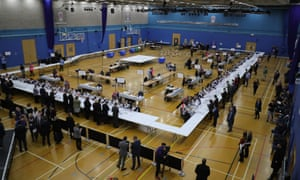 Votes being counted at the the Stoke count.