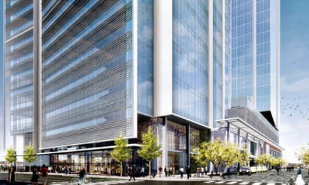 A render of Amazon's planned eastern US operations centre in downtown Nashville.