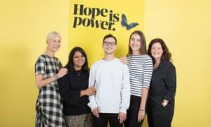 The Hope is power team, from left, Anna Bateson, Sonia Sudhakar, Joel Midgley, Kate Robarts, Kate Davies.