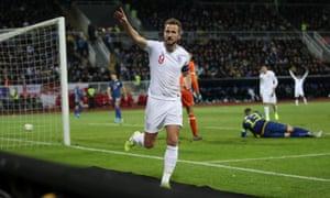 Kane celebrates scoring.