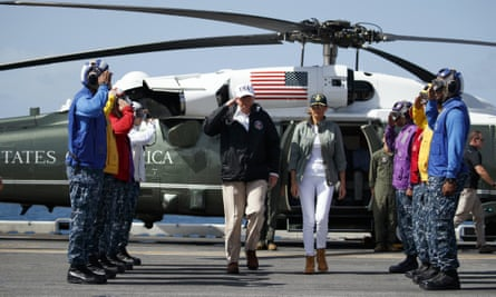Donald Trump and first lady Melania Trump toured areas of Puerto Rico impacted by Hurricane Maria on Tuesday 3 October.