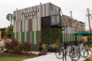 Starbucks Coffee shop built out of recycled shipping containers in Chicago, Illinois