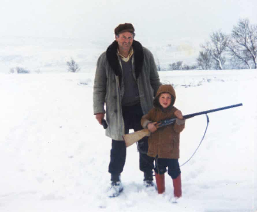 A young Luka Modric hunting with his grandfather, after whom he is named.