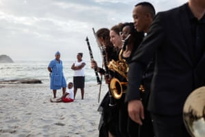 Members of the National Youth Orchestra, after they just played music on one of Cape Town's beaches