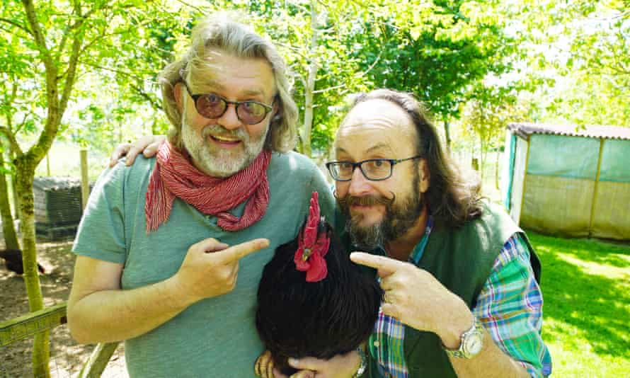 All heart … Si King and Dave Myers with Mr Red the Cock.
