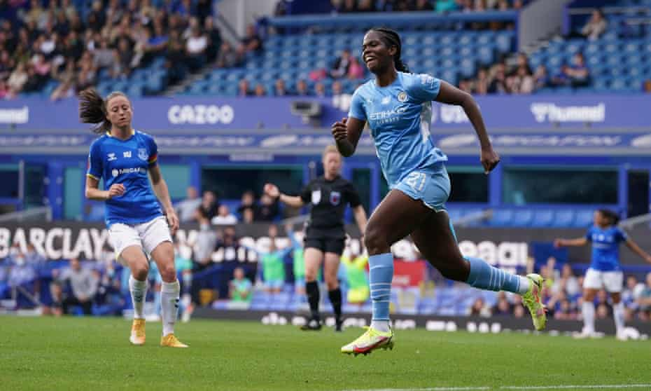 Khadija 'Bunny' Shaw celebrates after scoring Manchester City's third goal on her WSL debut.