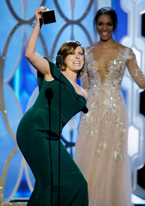 Rachel Bloom accepts the award for Best Actress - TV Series, Comedy or Musical for Crazy Ex-Girlfriend