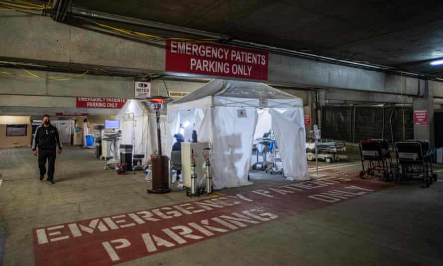A temporary emergency room built into a parking garage at Providence Cedars-Sinai Tarzana medical center in Tarzana, California.