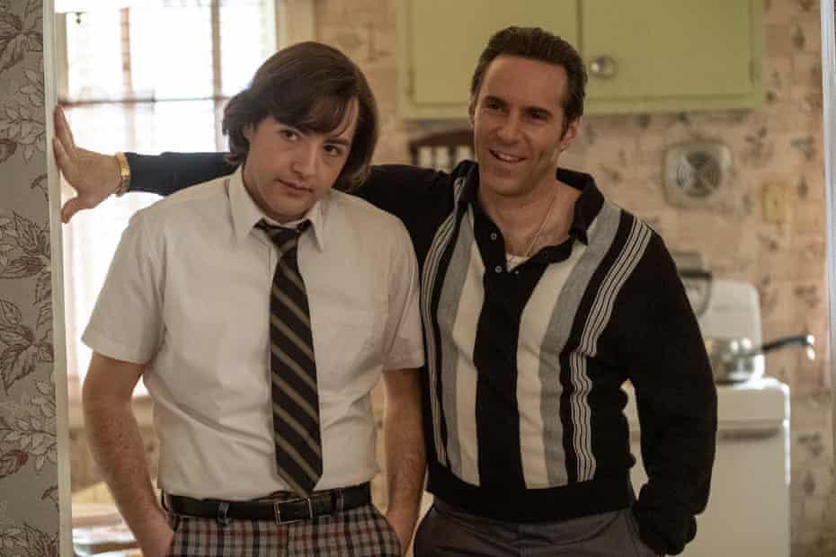 Michael Gandolfini, left, as the young Tony Soprano and Alessandro Nivola as his mentor, Dickie Moltisanti, in The Many Saints of Newark.