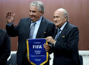 Jim Boyce bids farewell to Fifa and Sep Blatter at Fifa congress in Zurich last week.
