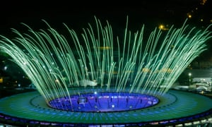 Fireworks are seen during a rehearsal of the opening ceremony of the Rio 2016 Olympic Games.