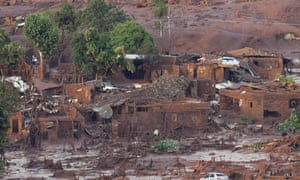 The aftermath of the dam collapse in the village of Bento Rodrigues, in south-east Brazil.