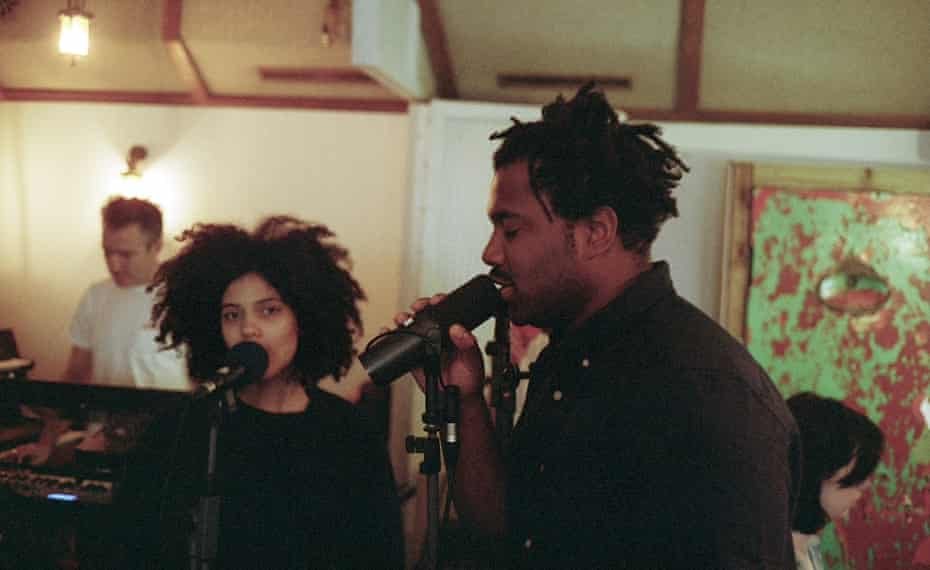 Lisa-Kaindé Díaz of Ibeyi, Sampha and Richard Russell in the studio