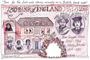 £50 note illustration by banknotes of colour campaign, featuring Mary Seacole and Noor Inayat Khan