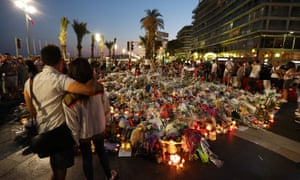 A makeshift memorial in Nice after the deadly Bastille Day truck attack on the Promenade des Anglais.