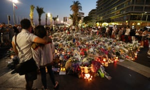 A makeshift memorial in Nice after the Bastille Day truck attack.