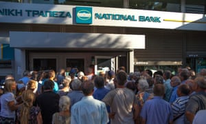 Queues outside Greek banks earlier this year after capital controls were implemented.