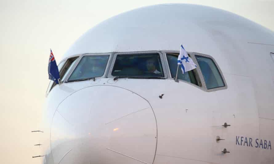 The plane carrying the prime minister of Israel Benjamin Netanyahu at Sydney airport