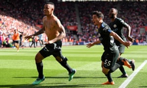 Gabriel Jesus leads the celebratory charge after scoring the late goal that took Manchester City to 100 points and a 1-0 win over Southampton.