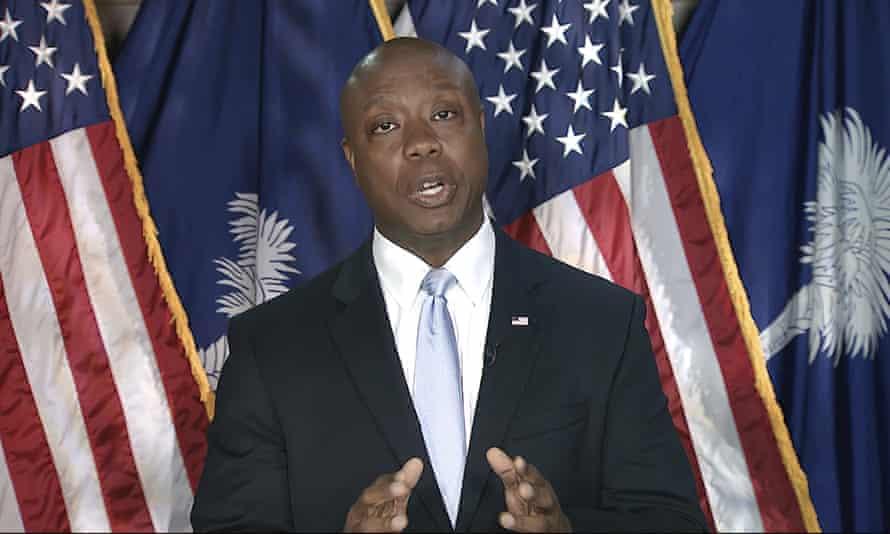 Tim Scott, a Republican senator from South Carolina, delivers the rebuttal to Joe Biden's speech.