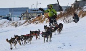 Nicolas Petit arrives in Unalakleet, Alaska, on Sunday