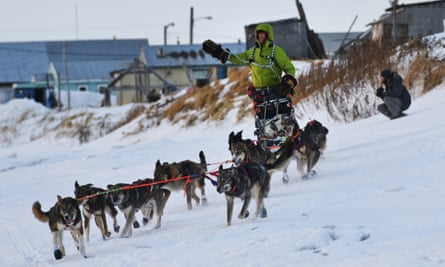 Nicolas Petit arrives in Unalakleet, Alaska, on Sunday