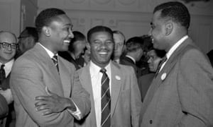 Everton Weekes (centre) was part of a legendary middle-order trio for the West Indies in the 1940s and 50s, alongside Frank Worrell (left) and Clyde Walcott (right).