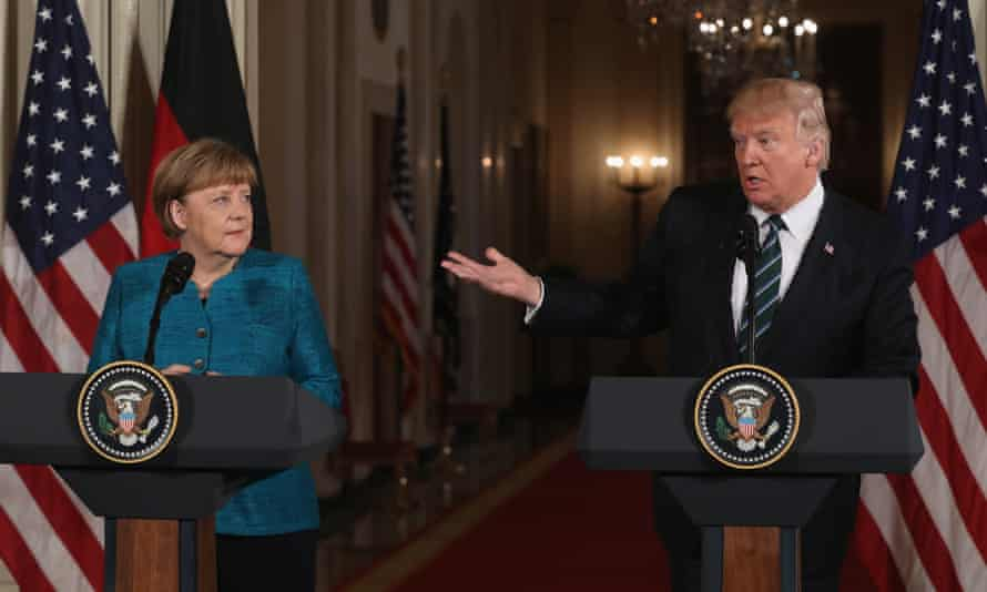 Angela Merkel and Donald Trump at the White House.