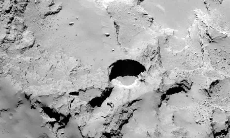A photo from the Rosetta spacecraft shows the most active pit, known as Seth_01