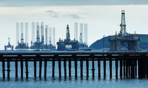 Currently redundant moored oil rigs and platforms at Invergordon