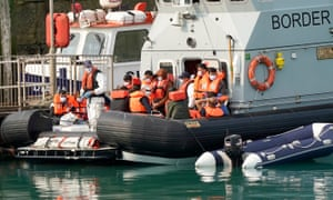 Migrants arrive at Dover after being picked up in the Channel by the Border Force on 11 September 2020