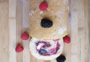 Fortnum & Mason's swiss roll: adds whipped cream and fresh berries.