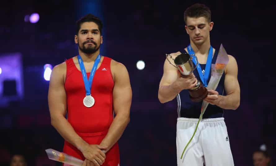 Golden moments: Louis Smith comes second to Max Whitlock in the pommel horse event at the British Championships in April 2016.