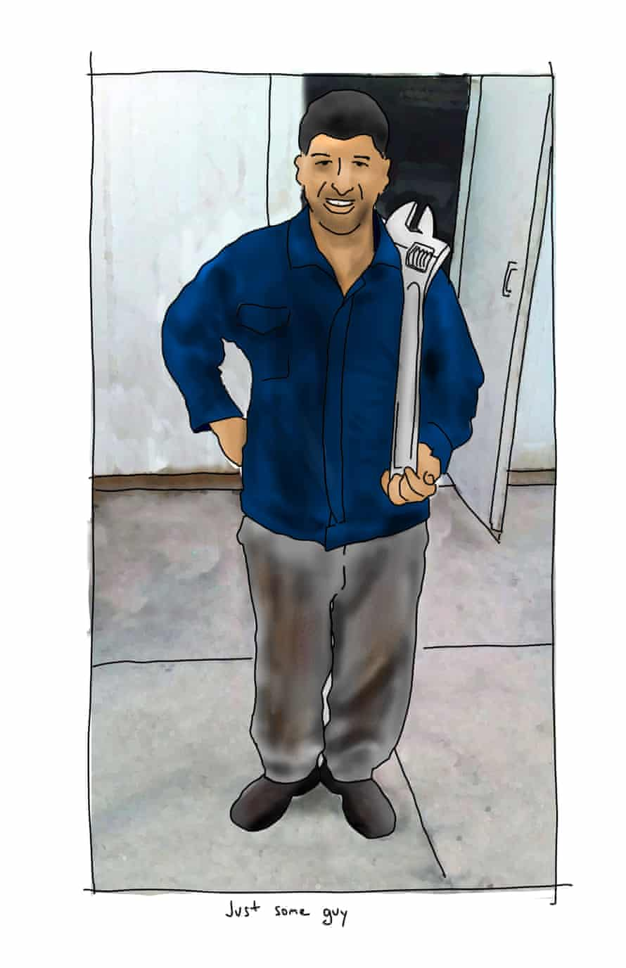 Mansour Shoushtari holding a spanner. Illustration by First Dog on the Moon
