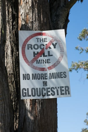 A protest sign against the Rocky Hill mine