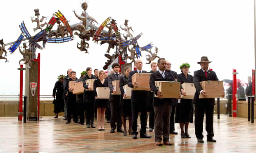 A Maori ceremony at Te Papa Museum in Wellington, New Zealand in 2012. The repatriation team carries 20 Maori mummified tattooed heads (toi moko) that were taken to Europe in the 1700s and 1800s