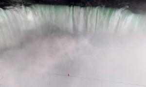 Nik Wallenda walks over Niagara Falls on a tightrope