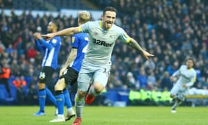 Jack Marriott celebrates after scoring the winner for Derby at Sheffield Wednesday.