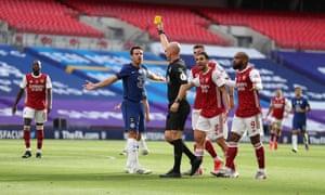Chelsea's Cesar Azpilicueta is booked.