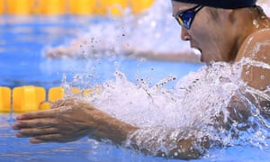 Japan's Rie Kaneto powers through the water on her way to winning the Women's 200m Breaststroke Final.