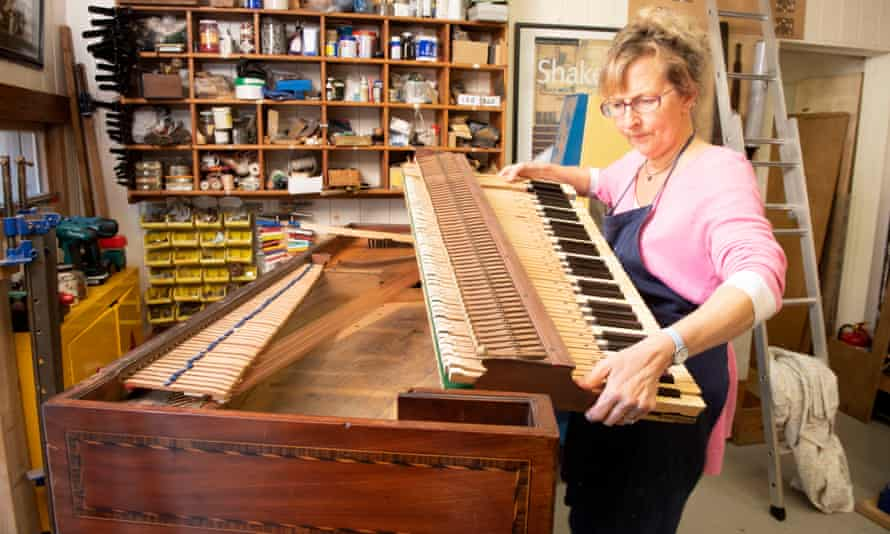 The 'First Fleet Piano' which was taken to Australia aboard HMS Sirius in 1787 now returned to the England to be restored by the square piano conservation specialist Lucy Coad.
